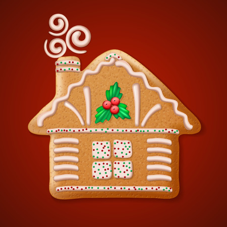 christmas house: Ornate realistic vector traditional Christmas gingerbread house. Vector illustration Illustration