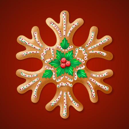 casita de dulces: Vector adornado realista tradicional del copo de nieve del pan de jengibre de Navidad. ilustración vectorial Vectores