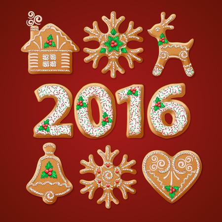 galletas de navidad: Adornado realista conjunto de pan de jengibre de Navidad tradicional. ilustración vectorial