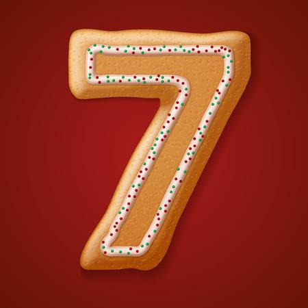 galleta de jengibre: Navidad números galletas y carácter. Ilustración vectorial Vectores