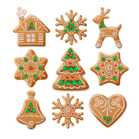 Ornate realistic  set traditional Christmas gingerbread. Vector illustration  Stock Illustratie