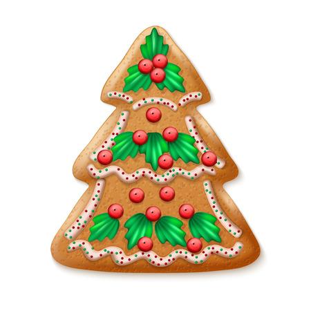 galletas de navidad: Adornado realista del vector del árbol de navidad tradicional. ilustración vectorial Vectores