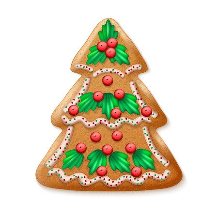 fancy pastry: Ornate realistic vector traditional Christmas tree. Vector illustration