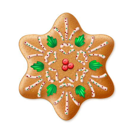 traditional illustration: Ornate realistic vector traditional Christmas gingerbread Star. Vector illustration
