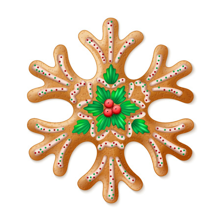 traditional illustration: Ornate realistic vector traditional Christmas gingerbread Snowflake. Vector illustration