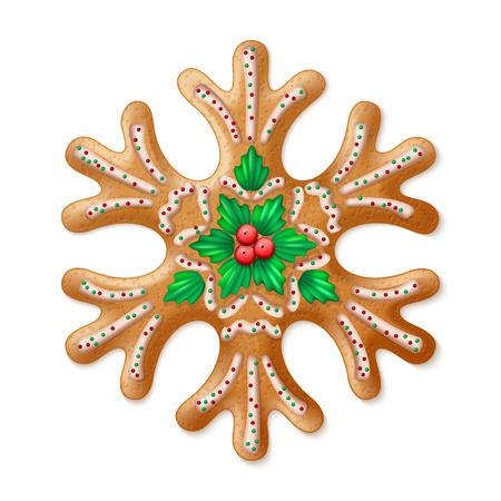 galletas de navidad: Vector adornado realista tradicional del copo de nieve del pan de jengibre de Navidad. ilustración vectorial Vectores