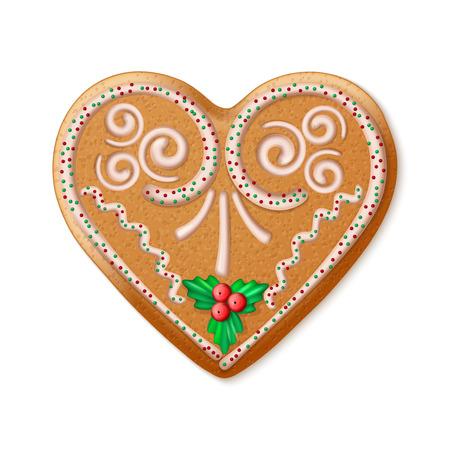 casita de dulces: Adornado realista del vector del corazón tradicional pan de jengibre de Navidad. ilustración vectorial Vectores