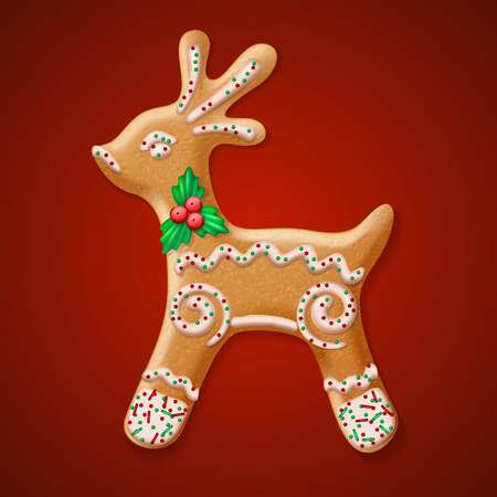 gingerbread: Ornate realistic vector traditional Christmas gingerbread Reindeer. Vector illustration