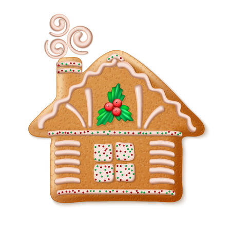 Ornate realistic vector traditional Christmas gingerbread house. Vector illustration  Ilustração