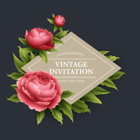 bouquet fleurs: Vintage floral card. Utilisé comme une carte de voeux pour le fond de la Saint-Valentin, anniversaire, jour de mère, de mariage ou de toute autre conception Illustration