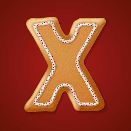 gingerbread cookies: Christmas gingerbread cookies alphabet. Illustration