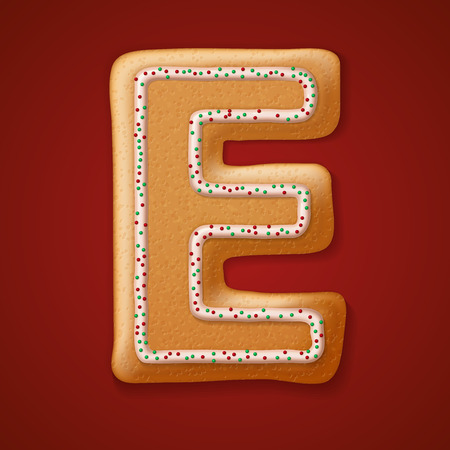 gingerbread cookies: Christmas gingerbread cookies alphabet. Illustration