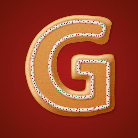 gingerbread cake: Christmas gingerbread cookies alphabet. Illustration