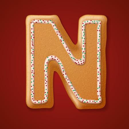 gingerbread cookies: Christmas gingerbread cookies alphabet Illustration