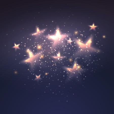 魔法の星背景をデフォーカス。