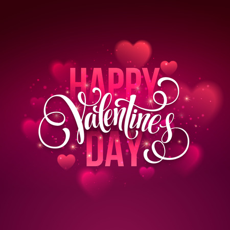 Happy valentines day handwritten text on blurred background. Stok Fotoğraf - 49371889