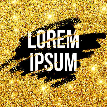 Golden sparkles brushstroke background. Illustration
