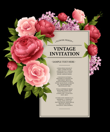 pink flowers: Vintage  Greeting Card with Blooming Flowers.  Vector Illustration