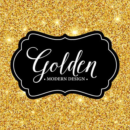 label frame: Vector label frame silhouette on the gold glitter background. Vector illustration  Illustration