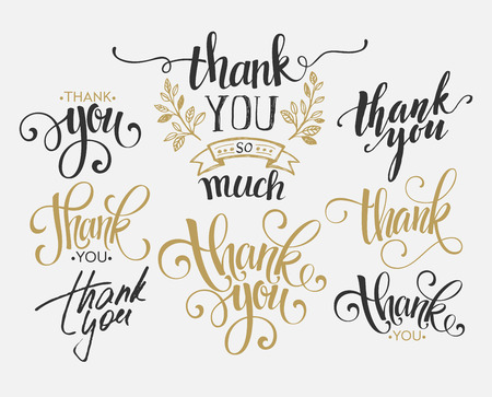 Set of custom THANK YOU hand lettering. Vector illustration  向量圖像