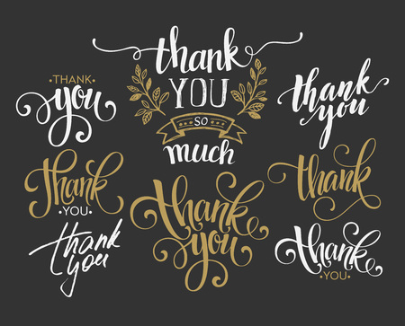 thanks: Set of custom THANK YOU hand lettering. Vector illustration  Illustration