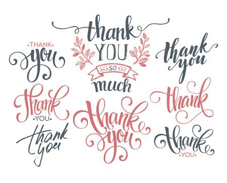 Set of custom THANK YOU hand lettering. Vector illustration