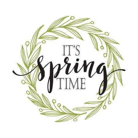 primavera: Palabras del resorte con la corona. ilustración vectorial