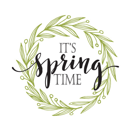 spring season: Words Spring with wreath. Vector illustration