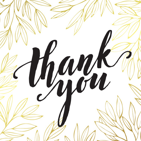 Thank you golden  lettering design. Vector illustration
