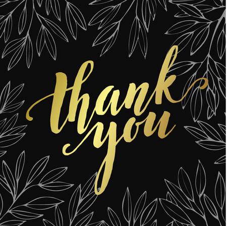 caes: Thank you golden  lettering design. Vector illustration