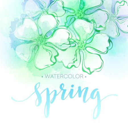 水彩の春の花の背景。ベクトル図