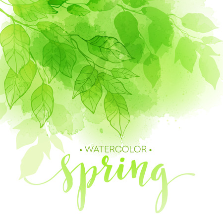 Watercolor background with green leaves. Vector illustration