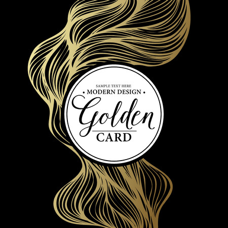 holiday party: Luxury golden modern card.