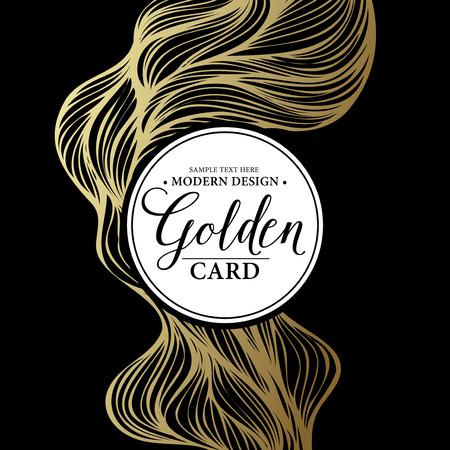 party invitation: Luxury golden modern card.