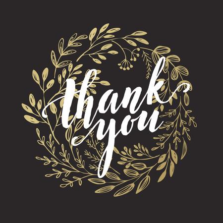 te negro: Gracias diseño de oro letras. Vectores