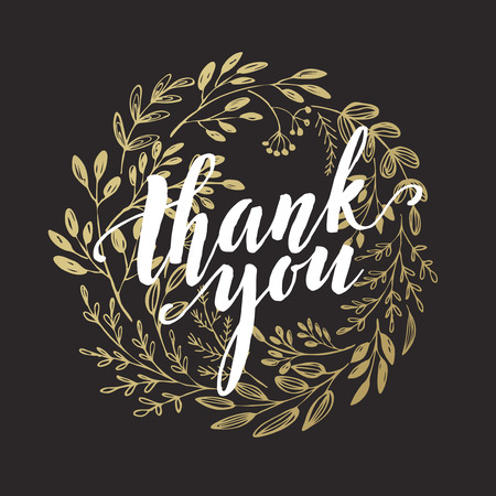 thank you card: Thank you golden  lettering design.