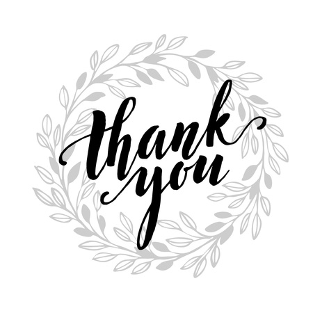 카드 템플릿 손으로 그려진 된 잎 테두리와 감사 텍스트를 작성하는 손. 스톡 콘텐츠 - 50351207