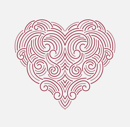 ornate heart: Valentine day Beautiful thin line ornamental heart.