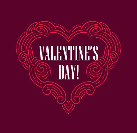 valentine      day: Valentine day Beautiful thin line ornamental heart.