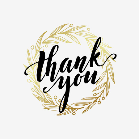 thank you cards: Thank you golden  lettering design.