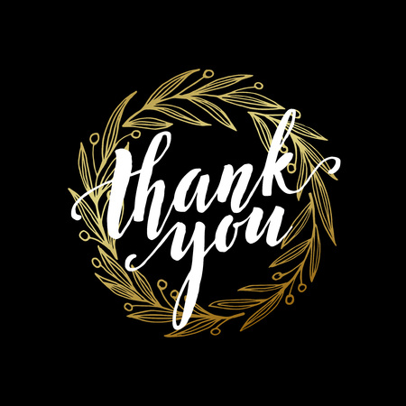 caes: Thank you golden  lettering design. Vectores