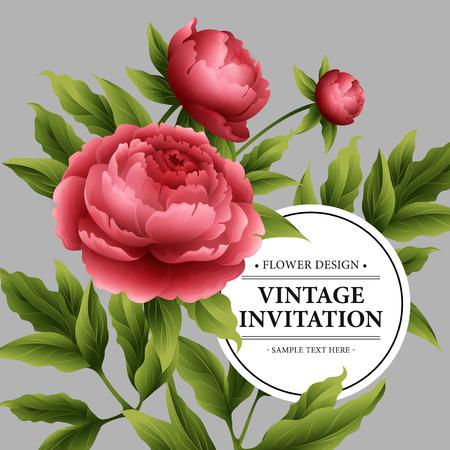 borde de flores: flores de peonía lujoso y deja la tarjeta de felicitación. Vectores