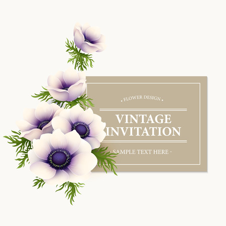 anemone: Greeting card with anemone flower.