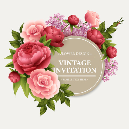 flower borders: Vintage  Greeting Card with Blooming Flowers.