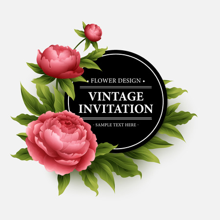Luxurious  peony flower and leaves greeting card.