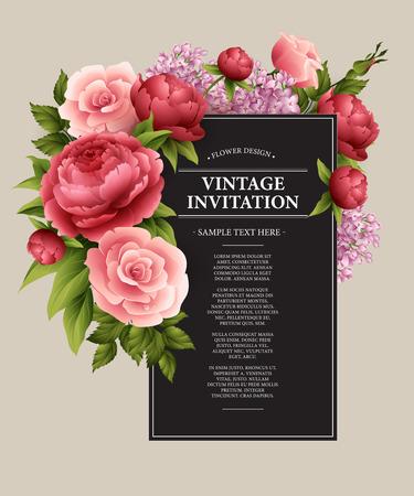 bouquet fleur: Carte de voeux de cru avec la floraison des fleurs. Vector Illustration EPS10 Illustration