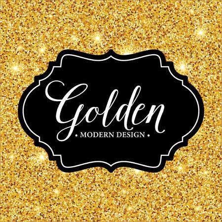 Vector label frame silhouette on the gold glitter background. Vector illustration EPS10