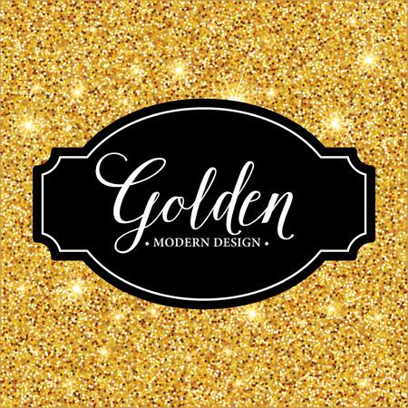 elegant template: Vector label frame silhouette on the gold glitter background. Vector illustration EPS10 Illustration