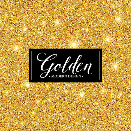 Vector label frame silhouette on the gold glitter background.