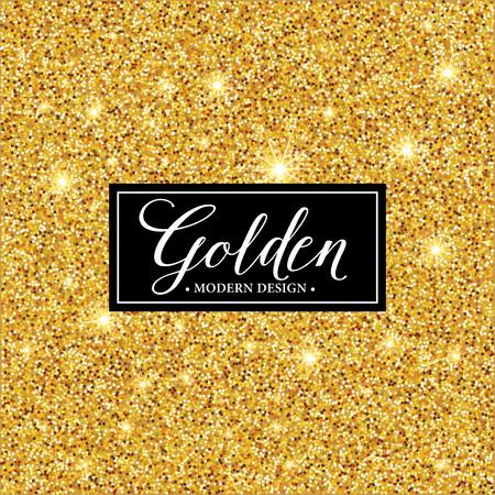 Silhouette di telaio di etichetta vettoriale sullo sfondo glitter oro.